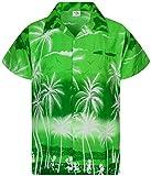 King Kameha Funky Casual Camisa hawaiana para hombre, bolsillo frontal, con botones, manga corta, unisex, estampado de playa - Verde - 4X-Large