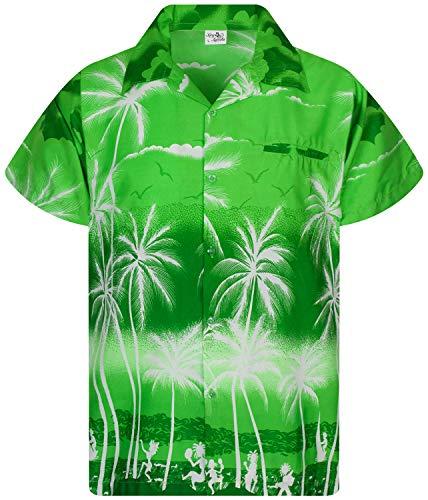 King Kameha Camisa hawaiana de manga corta para hombre, con bolsillo frontal, estampado hawaiano y palmeras Beach Negative - Tienda de campaña, color verde XS