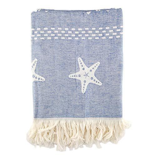 Hanselhome Pareo De Playa con Flecos De 100% Algodón Rizo De 165 X 90 Cm, Toalla Topak, Estrella, 165 X 90 Cm (Azul)