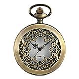 J-Love Reloj de Bolsillo de Cuarzo en Forma de Flor Hueca Retro Campanas Antiguas Collar de Esfera R...