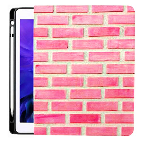 Ipad Pro 12.9 Case 2020 & 2018 with Pencil Holder Abstract Pastel Pink White Brick Wall Smart Cover Ipad Case, Supports 2nd Gen Pencil Charging,case for 2020 Ipad Pro 12.9 Cover with Auto Sleep/Wake