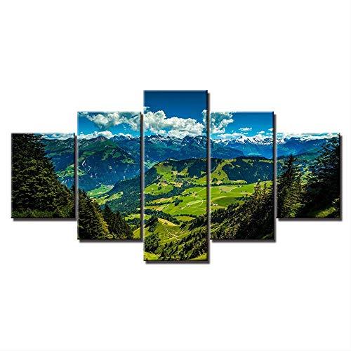 5 pièces HD Imprimer Green Valley View Papier Peint Affiches sur Toile Modulaire Mur Art Peinture Affiche pour Salon Décor À La Maison Taille 1 Pas De Cadre