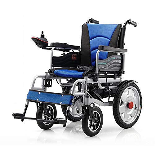 WLY Silla de Ruedas Plegable eléctrica Escalada Inteligente de baterías de Litio Scooter de 20A / 500W / 15 Millas de Viaje para la Silla de Ruedas eléctrica Ancianos/discapacitados,Azul