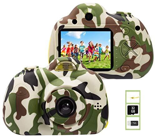 YunLone ToyZoom 1080P HD Niños Cámara Selfie Máquina fotográfica 18 MP Videocámara con tarjeta 32 GB Regalo Cumpleaños para Niños (Verde)