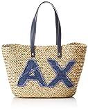 Armani Exchange Natural Straw Bag, Sac de plage femme, Bleu (Navy), 28x15x55 cm (B x...