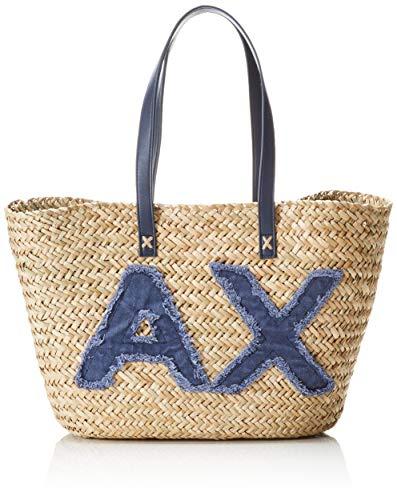 Armani Exchange Damen Beach Bag Stoff-und Strandtasche, Blau (Navy), 28x15x55 cm