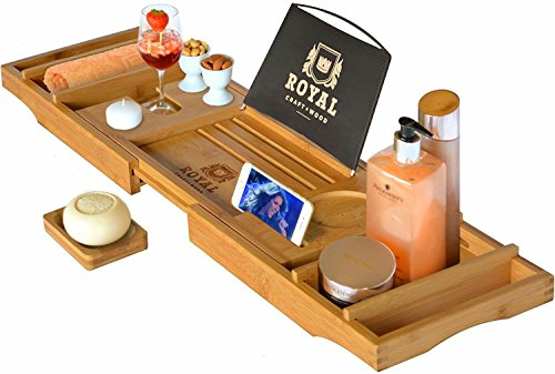 Bathtub Accessories - Royal Craft Wood Luxury Bathtub Caddy Tray