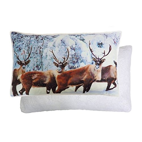 Winter Glitter Sparkly Christmas STAG Reindeer Reversible Fleece Cushion Cover