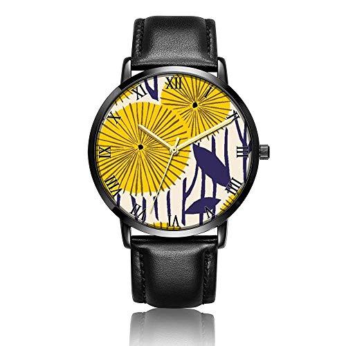 Hdaw Customized Yellow Flower Wrist Watch, Schwarzes Lederarmband Schwarze Zifferblatt Modische Armbanduhr für Frauen oder Männer