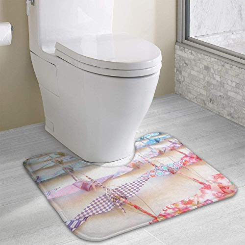 "NHCY Alfombra de baño Bath Mat Non-Slip Absorbent Super Cozy Coral Velvet Bathroom Rug Toilet Carpet (15.74"" X 19.29"" U Contour, Colorful Hanging Crane Origami)"
