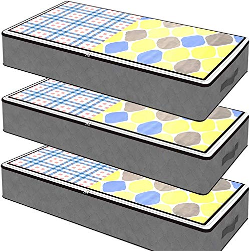 SGHUO 3 Pack Underbed Storage Bags Organizer Container for Clothing Blankets Comforters Organizer with Clear Windows and Reinforced Handles, Grey, 30 x 17 x 6 inches