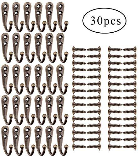 Yangbaga Schlüsselhaken Vintage Kleiderhaken mit Schrauben Huthaken, Wandhaken, Garderobenhaken, Gartenhaken Dekorativen Haken für Schlüssel, Taschen, Handtücher, Bronze (30 Stücks)