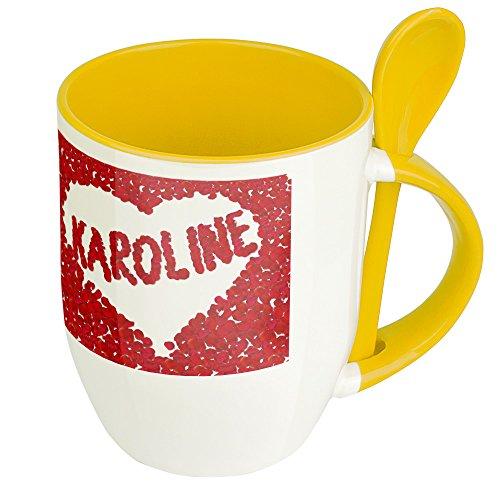 Namenstasse Karoline - Löffel-Tasse mit Namens-Motiv Blumenherz - Becher, Kaffeetasse, Kaffeebecher, Mug - Gelb