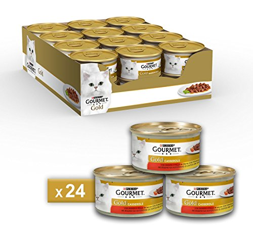 Purina Gourmet Gold Umido Gatto Casserole con Manzo e Pollo in Salsa con Pomodoro, 24 Lattine da 85 g Ciascuna, Confezione da 24 x 85 g