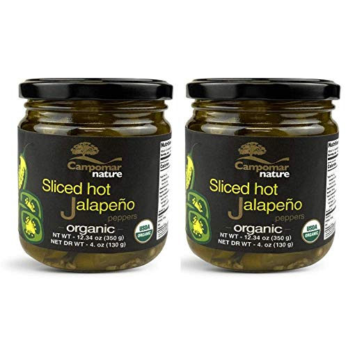 Pack of 2 Spanish SLICED ORGANIC HOT JALAPENO 12.34 oz   Just 3 Ingredients   Gluten Free, No Added Sugar, No Corn Syrup