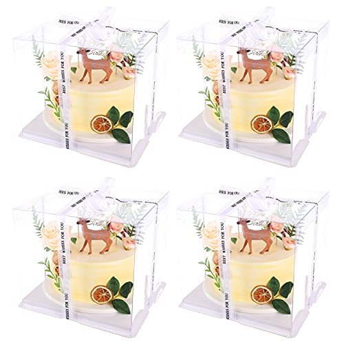 """4pcs Clear Cake Box Tall Cake Box Carrier Plastic Cake Boxes For Tall Cakes Bakery Boxes With Window For Cookie,Dessert,Cupcakes Gift Boxes With Lid 10"""" X 10"""" X 9""""- White"""