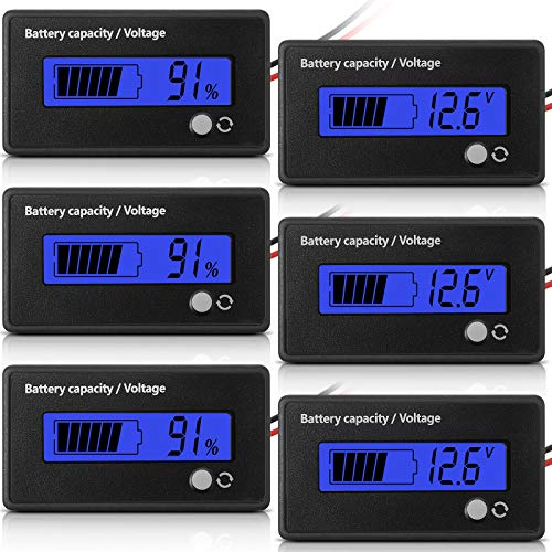 Frienda 3 Pieces LCD Battery Capacity Monitors Battery Capacity Voltage Indicators Car Motorcycle Battery Testers Battery Meters with Alarm for Golf Cart RV Marine Boat Car Motorcycle Blue