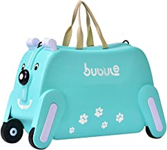 19 in Unisex Kids Ride on Luggage Organizer Carry-On Travel Bag Rideable Lazy Luggege Toys Storage Box Suitcase Tots Children Trunk Can Sit Rider Bedbox Trunki Stroller Trolley Roll Case (Mint Green)