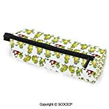 Personalized Small Portable Pencil Bags Eyeglasses Bag Frogs in Different Positions Funny Happy Cute Expressions Faces Toads Cartoon Pencil Bag for Womens Girls Students College Work