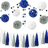 InBy 26pcs Royal Blue Gray White Baby Shower Birthday Wedding Tissue Paper Pom Pom Party Decoration Kit - 12' 10' 8'