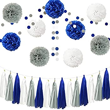 InBy 26pcs Royal Blue Gray White Baby Shower Birthday Wedding Tissue Paper Pom Pom Party Decoration Kit - 12  10  8
