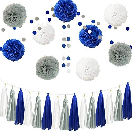 """26pcs Pink Gray White Baby Shower Birthday Wedding Tissue Paper Pom Pom Party Decoration Kit - 12"""" 10"""" 8"""""""
