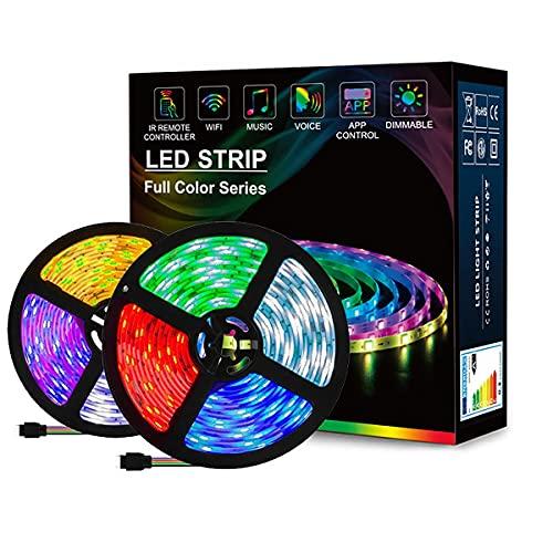 MINGRT WIFI Tira De LED, RGB Impermeable Música Light Strip Con Control Remoto IR De 24 Teclas Luces Led Para Sala Comedor Cocina Navidad (Color : 10m)
