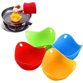 SevenMye 4 Packs Egg Poacher Perfect Silicone Poached Egg Maker Non-Stick Poached Eggs Cups BPA Free Silicone Egg Poacher Cups Microwave Egg Poacher Kitchen Cookware Tools
