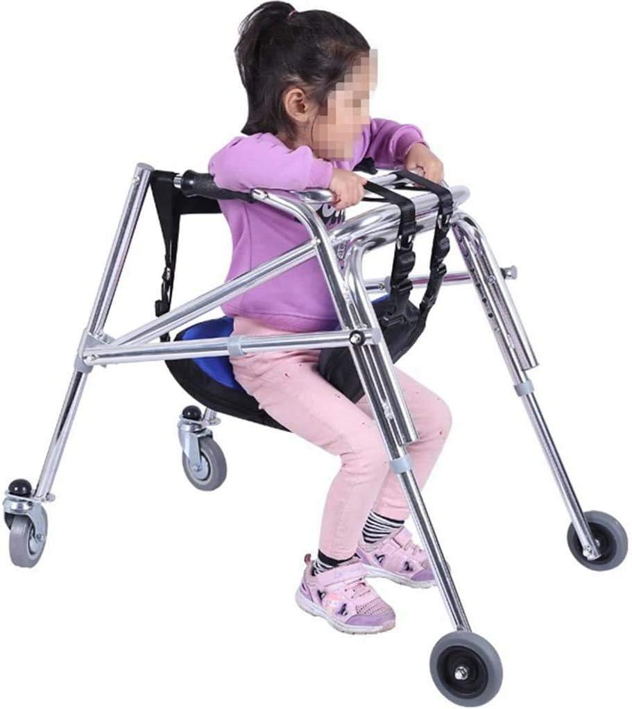 Walker Polea Andador montado en la Parte Trasera Unidireccional Plegable Tamaño Anti-Retroceso Altura Ajustable para parálisis Cerebral Entrenamiento de rehabilitación para niños,S