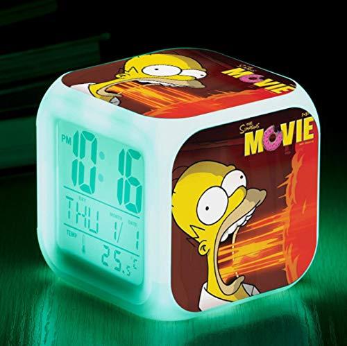 KFGJ Simpson Familie 3D digital kleinen quadratischen Wecker, wecken LED leuchtende stille Nachtlicht Bunte Farbe ändern Batterie USB A7