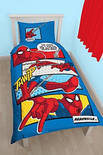Juego de edredón de Marbel con diseño de Spiderman Cabeza de telaraña, tamaño Individual, diseño con Estampado de Gran tamaño