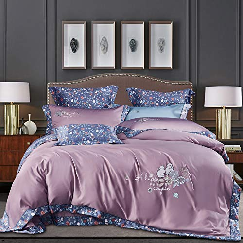 OUHGNS Duvet Cover, Four-Piece Silk Quilt Cover, 1.5m 1.8m Quilt Cover Sheet, Bedding, 200 230 Silk Quilt Cover, Purple, Stitching