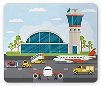 空港の長方形のマウスパッド、飛行場の要素を持つ漫画デザインインフォグラフィックタワー面と車、滑り止めラバーバッキングマウスパッド、多色