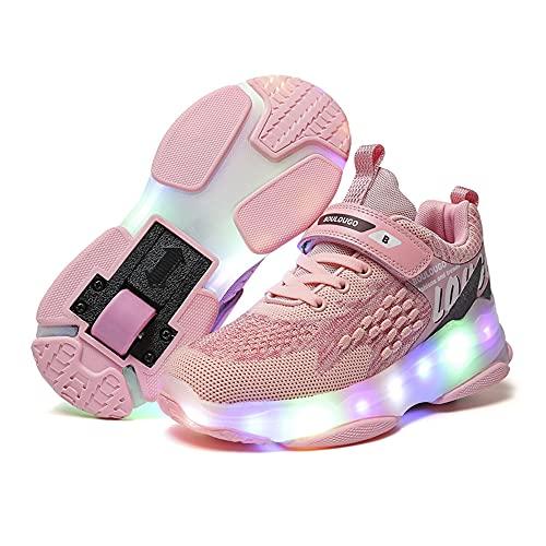 RESLIDE Rollschuhe für Mädchen und Jungen, Sneaker, USB aufladbare Räder, Schuhe mit LED-Licht, Rollschuhe für kleine und große Kinder, S-pink,