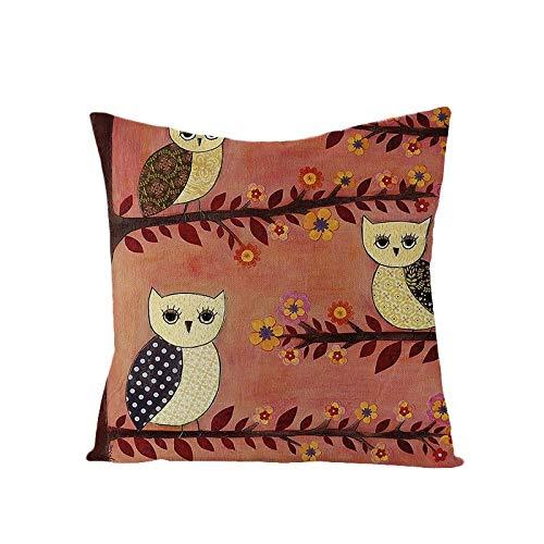 kakshi Algodón Lino Throw Pillow Case Funda de Almohada para Cojín Búho con núcleo de Almohada Conjunto de Dos piezas45x45cm
