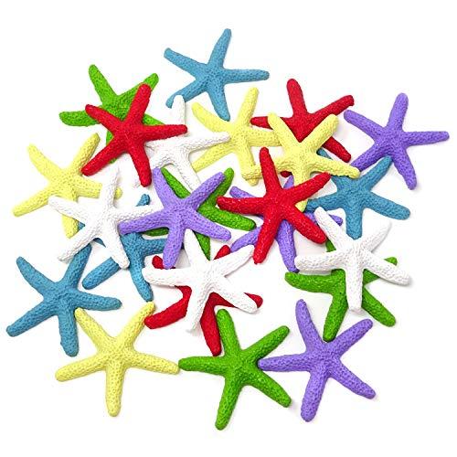 HONBAY 24PCS Resin Colorful Decorative Finger Starfish Sea Star for Decoration
