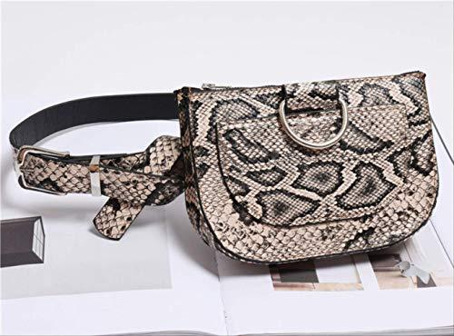 JUNLILIN Riñonera Paquete de Cintura para Mujer Bolso de Pecho de Cuero de PU Serpentina Bolso de cinturón de Piel de Serpiente Femenina Monedero Femenino