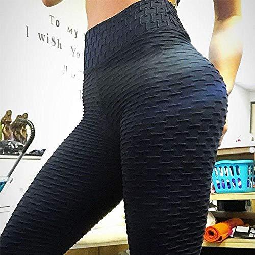 MQQM Leggings Levante los Pantalones de Yoga,Pantalones de Yoga de Cadera Seca de Alta Velocidad de Cintura, Polainas Delgadas de Burbujas-Negro_M,Leggings Push Up