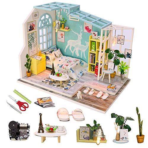 Kit de casa de muñecas en miniatura de madera 3D, modelo de casa, caja de habitación con muebles y accesorios, sala de estar, dormitorio, cocina, baño, adecuado para cumpleaños