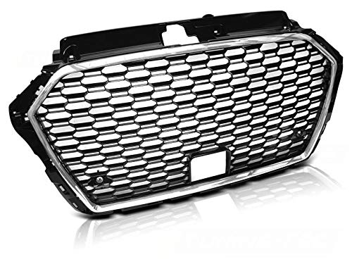 Front Grill Compatible with Audi A3 8V Cabrio 2 Doors 2017 2018 2019 2020 BR-62 Front Central Sport Grill Honeycomb Mesh Grille Chrome Black