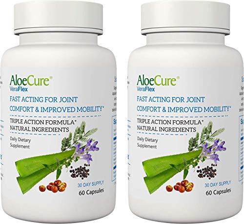 VeraFlex by AloeCure Ingredientes clínicamente probados para aliviar las molestias en las articulaciones, rigidez y movilidad a partir de 3 días 60 cápsulas cada botella, suministro de 3 meses