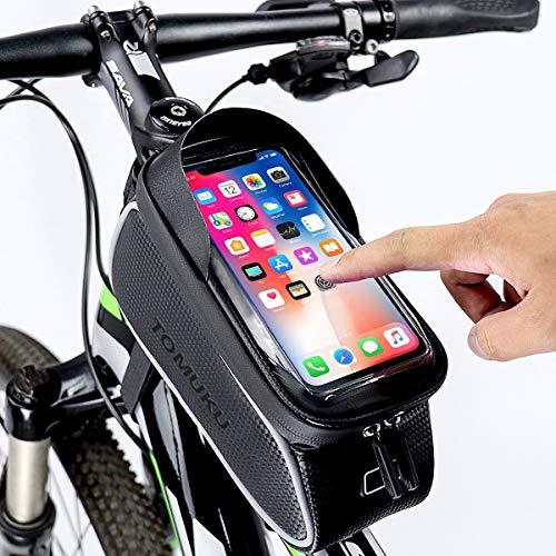 Tomuku Borsa Da Bici Borsa Da Manubrio Per Bici Supporto Per Telefono Bici 6 Inch Porta Cellulare Bici Borse Manubrio Per Biciclette, Borse Biciclette Supporto Bici MTB BMX, Accessori Bici (Nero 1)