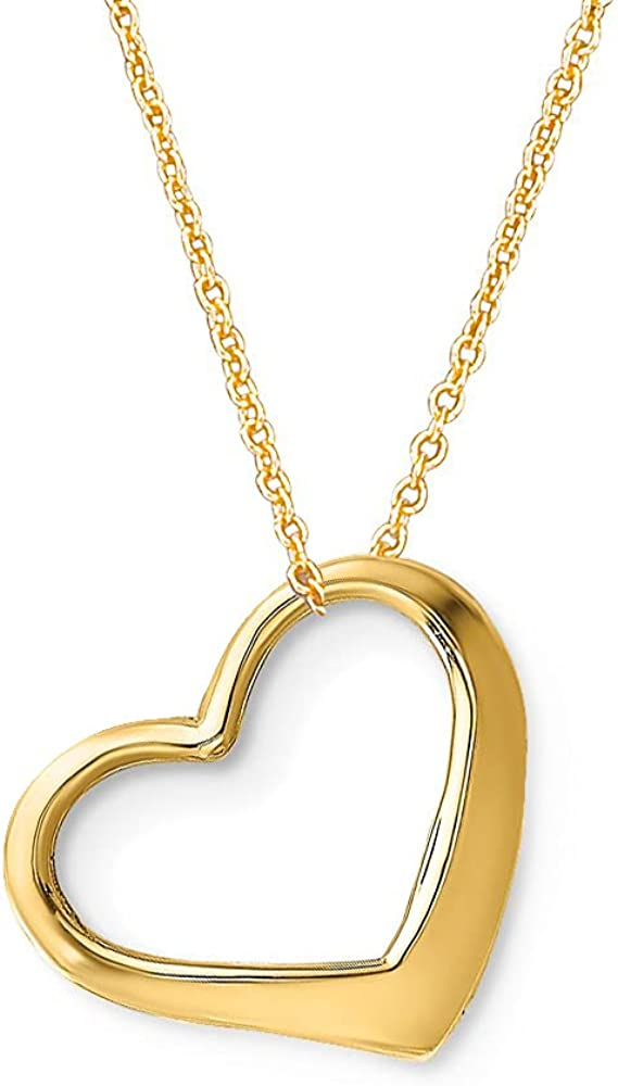 Girl's Heart Necklace 14k Solid Yellow or White Gold Girl's Small Floating Heart Necklace 15