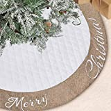 Lalent Christmas Tree Skirt - 48 inches Large White Quilted Thick Luxury Tree Skirt, Tree ...