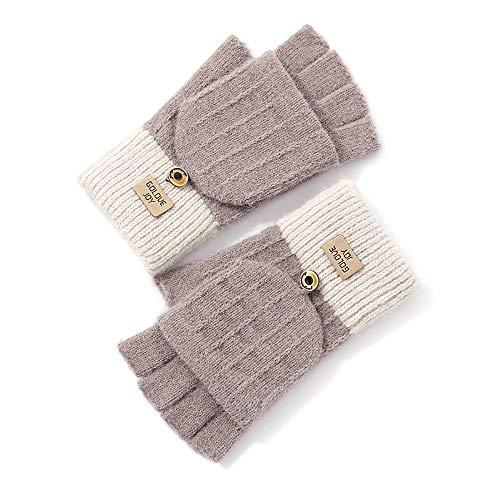 MOONMN レディース手袋 指なし手袋 ミトン付き スマホ対応可 防寒 ニット 可愛い 冬 通勤通学 お出掛け プレゼント (カーキー)