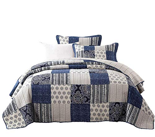 DaDa Bedding Patchwork Bedspread Set - Reversible Denim Blue Elegance 100% Cotton Quilted - Bright Vibrant Multi Colorful Navy Floral - Cal King - 3-Pieces