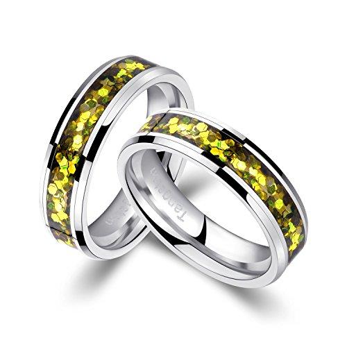 Viennajewelry Anillos de boda, de compromiso, de amistad, de tungsteno con concha (62 (19,7))