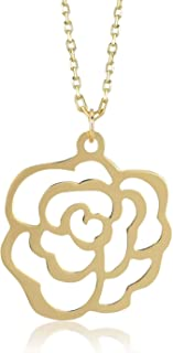 14k Solid Gold Rose Flower Pendant Chain Necklace for Women 18 Inch