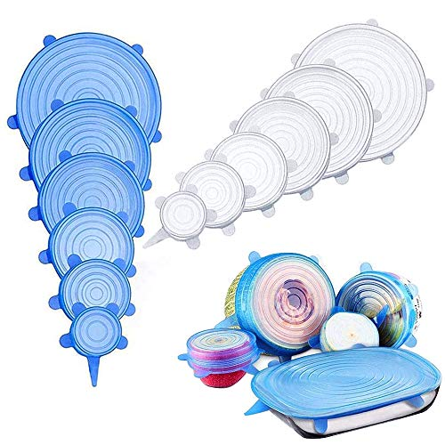 ZoneYan Silikondeckel, 12 Stück Silikon Stretch Deckel Stretch Lid Silikon Abdeckung in Verschiedenen Größen Wiederverwendbar Dauerhaft Erweiterbar - für Schüsseln,Becher,Dosen,Obst