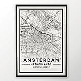 Amsterdam City Map Druck, modernes Poster in den Größen